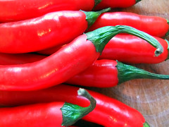 paprika(0.0), bell pepper(0.0), red bell pepper(0.0), plant(0.0), cayenne pepper(1.0), chili pepper(1.0), vegetable(1.0), serrano pepper(1.0), tabasco pepper(1.0), bell peppers and chili peppers(1.0), italian sweet pepper(1.0), bird's eye chili(1.0), peperoncini(1.0), produce(1.0), food(1.0), pimiento(1.0), malagueta pepper(1.0), jalapeã±o(1.0),