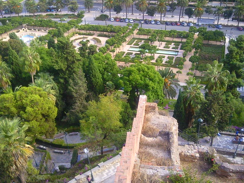 Looking down on the Rose Garden from the Alcazaba, Malaga, Spain