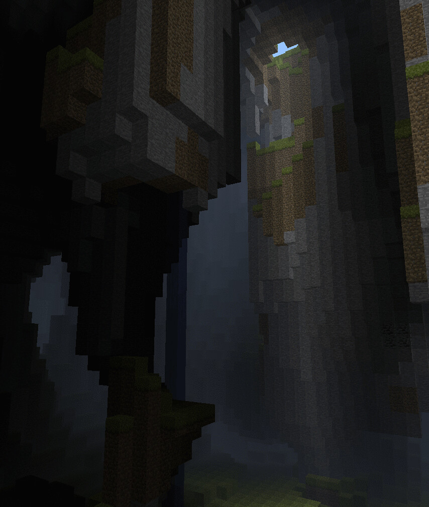 Tall serene cave with waterfall