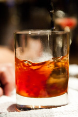 whisky(0.0), old fashioned(0.0), negroni(0.0), beer(0.0), alcohol(1.0), distilled beverage(1.0), liqueur(1.0), glass(1.0), spritz(1.0), drink(1.0), cuba libre(1.0), cocktail(1.0), sazerac(1.0), alcoholic beverage(1.0),