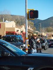 Pedestrian Island Amid Taos Traffic