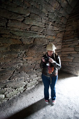 Bridie in the Gallarus Oratory, Dingle, Ireland.