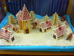 gingerbread house, food,