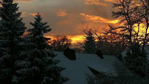 schnee sunset snow twilight abenddämmerung sonnuntergang