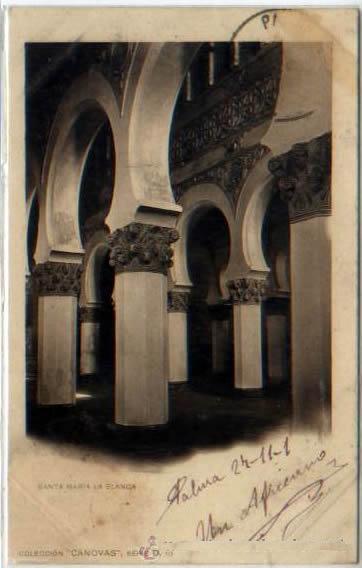 Sinagoga de Santa María la Blanca hacia 1900. Foto de Antonio Cánovas del Castillo, Kaulak, hacia 1900