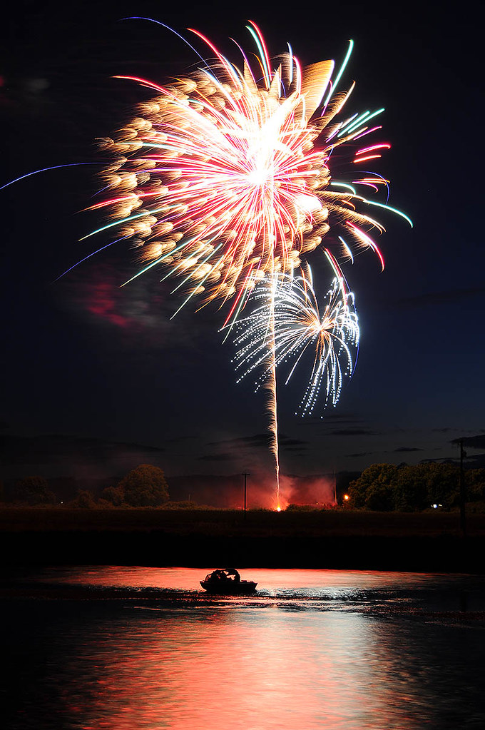 Fireworks with Water Reflection