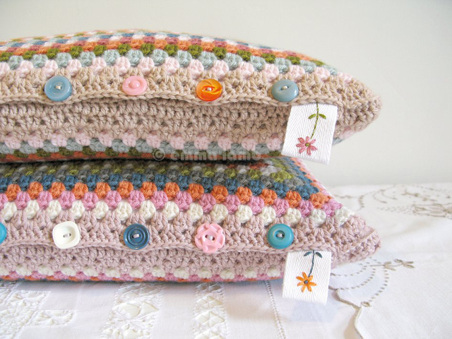 Esme and Doris, hand crochet cushion covers - © emma lamb