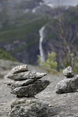 Stones in front of a water fall
