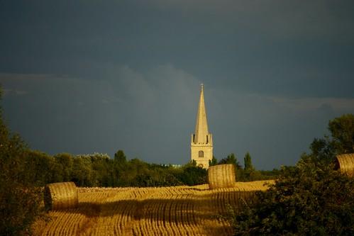 sunset church field evening day cloudy harvest bales buckingham candleford sspeterandpaul