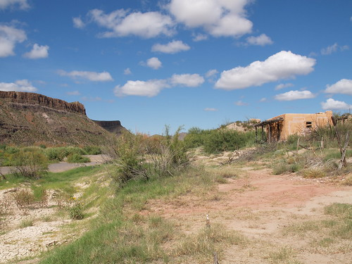 Big Bend Ranch State Park Texas Near Mexico in the Chihuahuan Desert 2010 Mountains River Building Distress Trees Blue sky Roads Rock