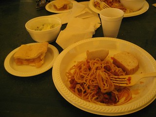 The post-ride spaghetti dinner, as promised