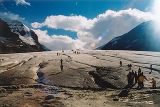 Glacier with tourists in the Canadian Rockies