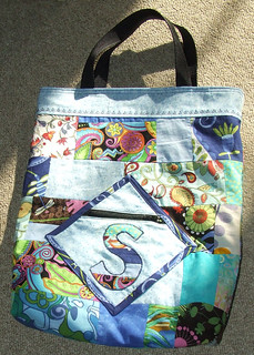 Appliqued patchwork library book tote