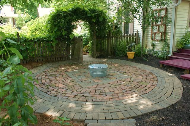 circular patio of brick and flickr photo