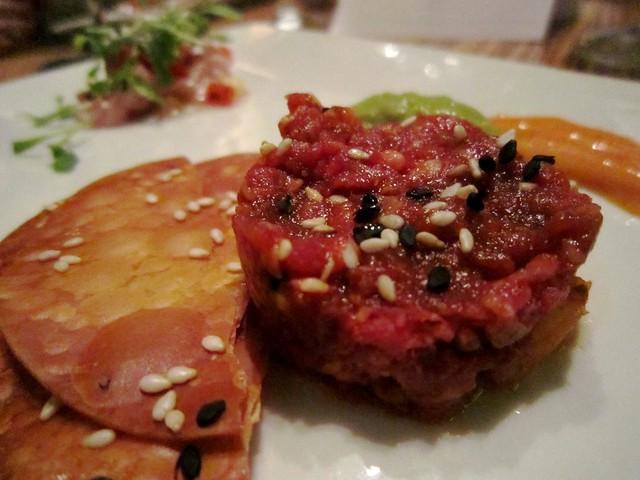 Yukke (Korean beef tartare) | quail egg / kimchi / rice crac ...
