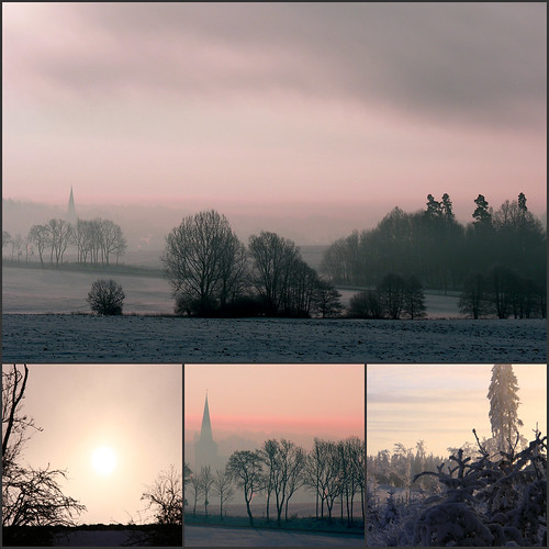 morning pink winter sky tree church silhouette collage sunrise germany bare himmel thuringia wintersky winterhimmel