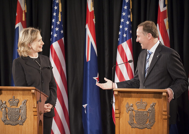 Former Secretary of State, Hillary Clinton with Prime Minister John Key during a media conference after the signing of the Wellington Declaration.