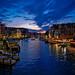 View at dusk from the Rialto Bridge by amyswear