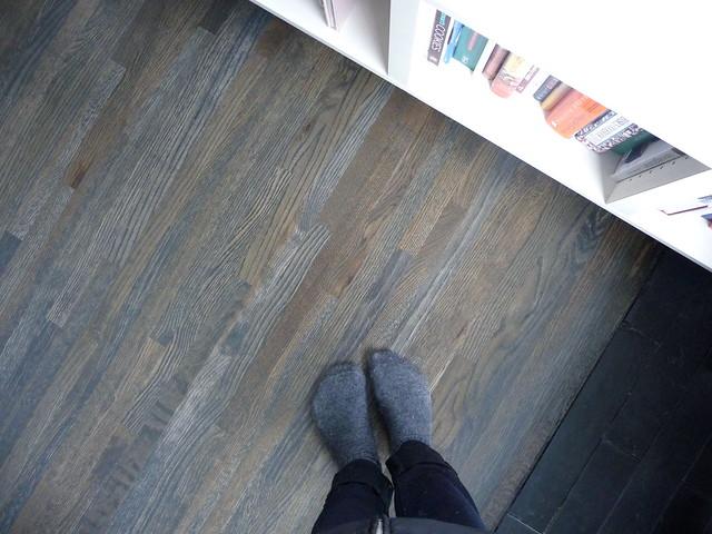 White Washed Hardwood Floors In Kitchen