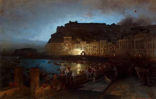 Oswald Achenbach - Fireworks in Naples [1875]