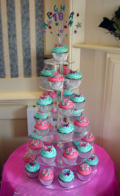 Turquoise & Hot Pink 18th Birthday Cupcake Tower