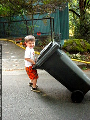 one of his chores   taking in the trash cans from th…
