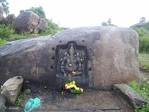 Ganesh carved on rock