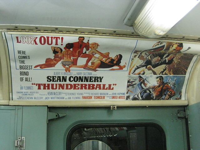 Old subway advertisement on a vintage train at the NYC Transit Museum