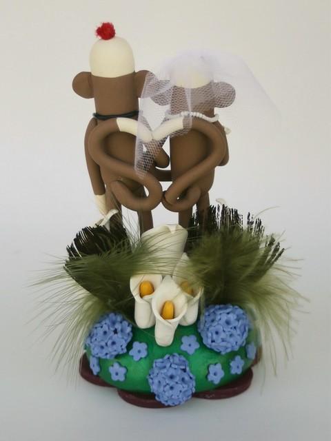 Sock Monkey Wedding Cake Topper w Peacock Feathers back