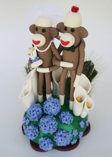 Sock Monkey Wedding Cake Topper w Peacock Feathers