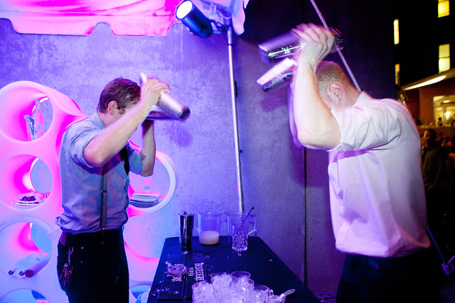 "Sean and his co-worker doing the ""house shake"" the Parkside Fizz"