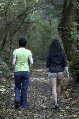 rachel and neeta on the trail