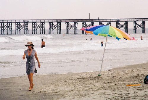 vacation holiday beach water umbrella pier sand surf leisure atlanticocean pawleysisland beachumbrella pawleyspier