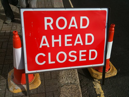 "Picture of ""Road Ahead Closed"" sign"