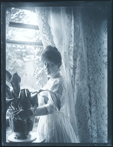 Woman at the window, with her prized Aspidistra