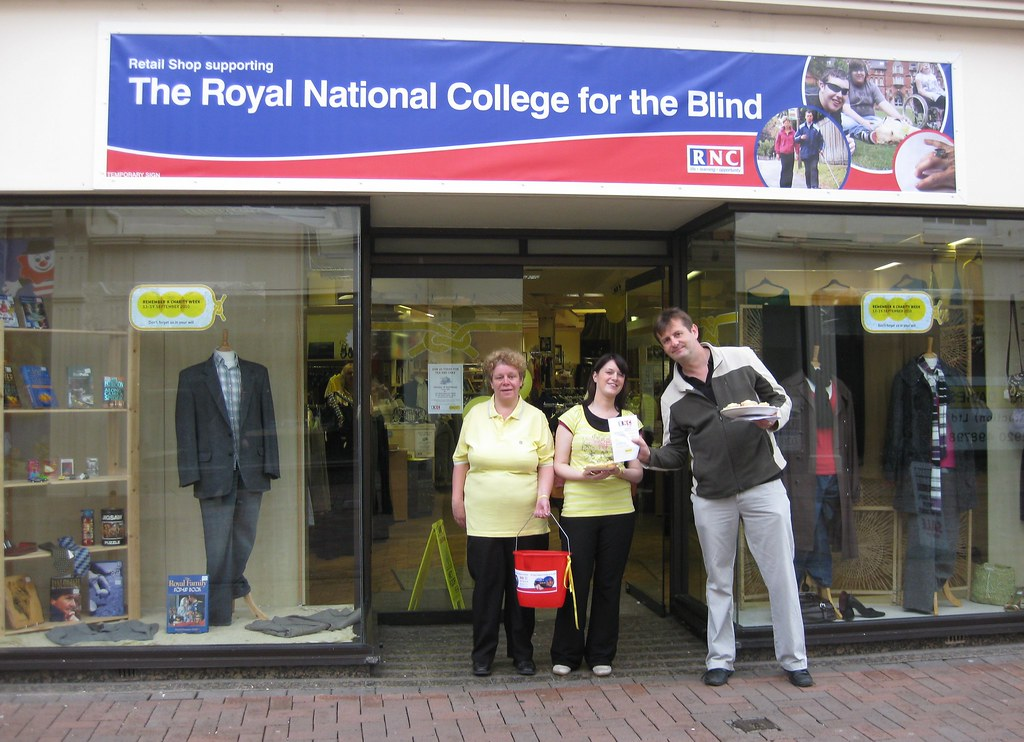 Branded charity shop by the Royal National College for the Blind