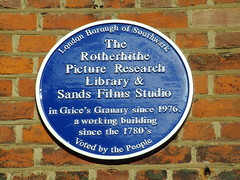 Photo of Rotherhithe Picture Research Library, Sands Films Studio, and Grice's Granary blue plaque