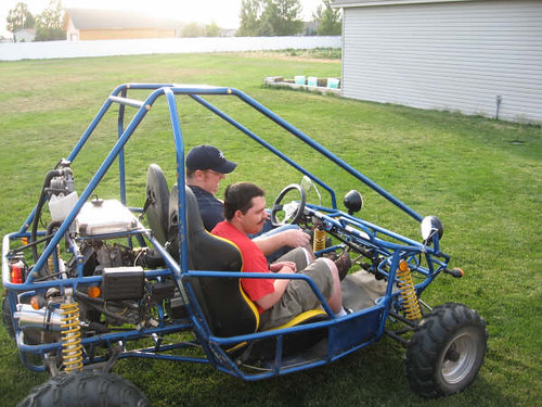 Steve and my cousin Jake cruising in the dune buggy.