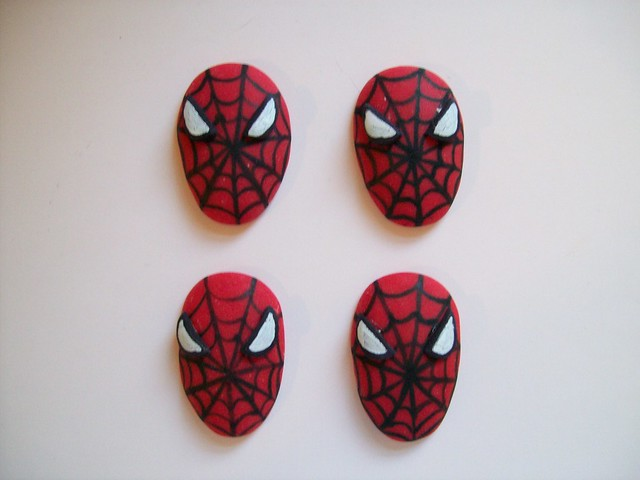 Fondant spiderman cupcake toppers - photo#2