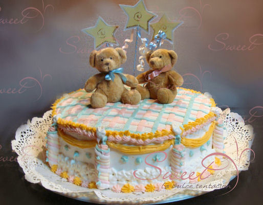 pastel baby shower osos