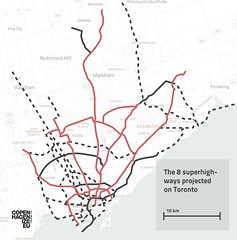 Copenhagen Bicycle Superhighways projected on Toronto
