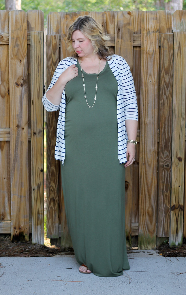 maternity green maxi, blue stripe cardigan 4