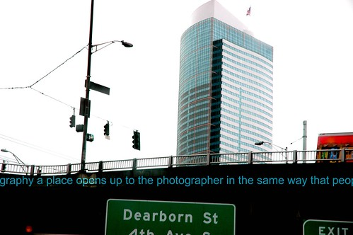 Some times in photography a place opens up to the photographer in the same way that people do. Seattle Tower, Dearborn St and 4th Ave S exit signs, mounted on the freeway overpass, Seattle, Washington, USA by Wonderlane