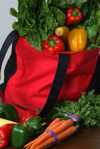 Red Reusable Bag with Produce