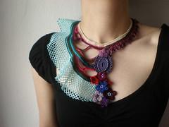 Tubastraea Coccinea ... Freeform Beaded Crochet Necklace