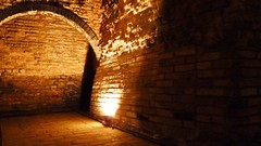 arch, wall, light, darkness, brick, crypt, infrastructure,