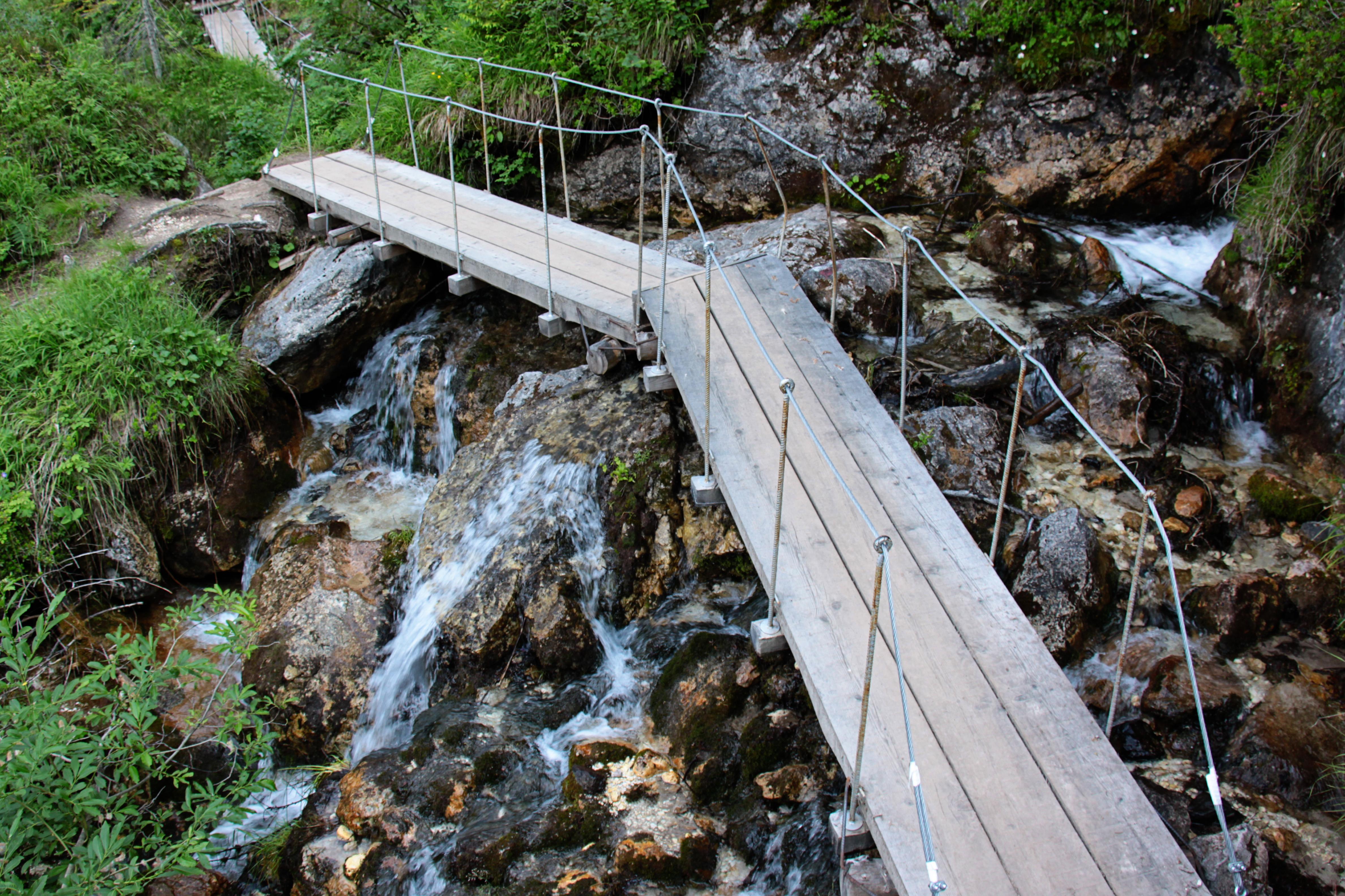 waterfall hike bridge
