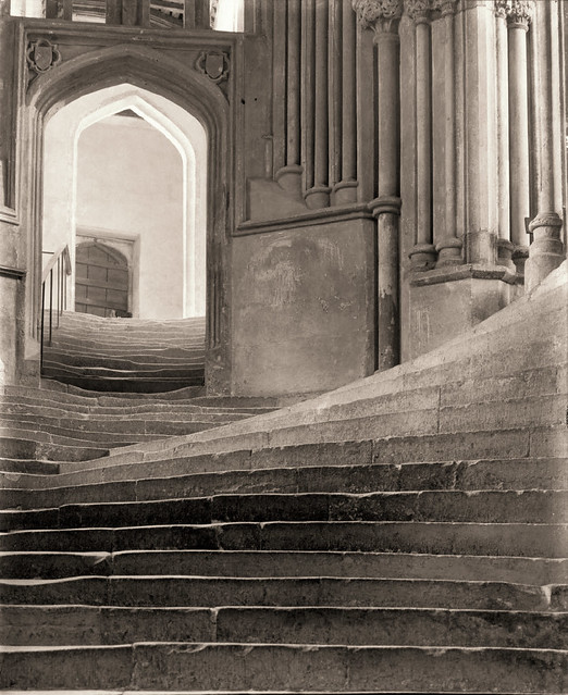 The Sea of Steps, Wells Cathedral, Stairs to Chapter House and Bridge to Vicar's Close, England, by Frederick H. Evans 1903