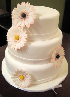 Pink Gerber Daisy Wedding cake