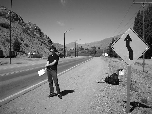 Joffrey hitchhiking between Esquel and El Bolson